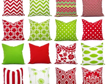 Christmas Pillow Cover - Pillow Cover 16 inch or 18 Inch - Holiday Pillows - Christmas Decor - Holiday Decor - Red Pillows - Green Pillows