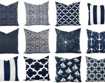 OUTDOOR Pillow Cover - Navy and White Pillow Cover - Navy Blue Throw Pillow Cover - Navy Euro Sham - Decorative Pillow - Blue Patio Pillows