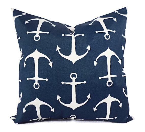 Two Outdoor Pillows Navy White Pillow, Outdoor Anchor Pillow