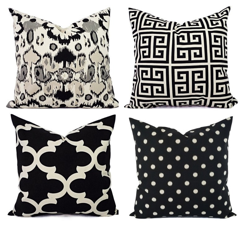 02e0289a94e Black Throw Pillow Cover Black and Beige Pillow Euro Sham