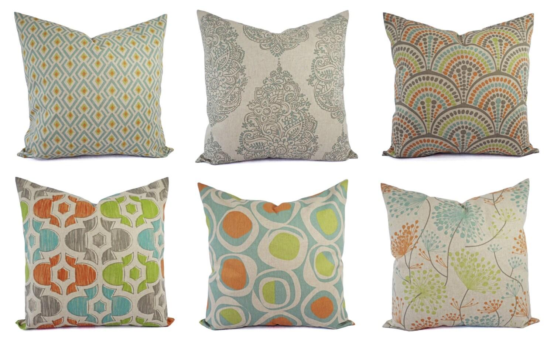 Decorative Pillow Orange Blue And Beige Decorative Pillow
