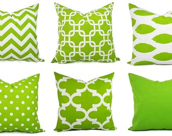 One Green Couch Pillow - 20 x 20 inch 18 x 18 Inch Green Throw Pillows - Green Pillow Cover - Green Polka Dot - Solid Green Pillow Cover