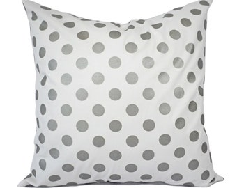 Two Metallic Silver Pillow Covers - White and Silver Pillow Cover - Decorative Pillow - Silver Polka Dot Pillows - Holiday Decor