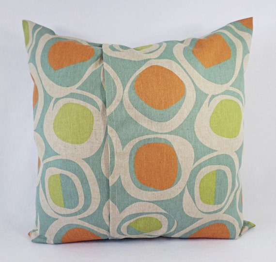 Orange Green And Blue Decorative Pillow Covers Two Geometric Etsy Awesome Orange And Blue Decorative Pillows