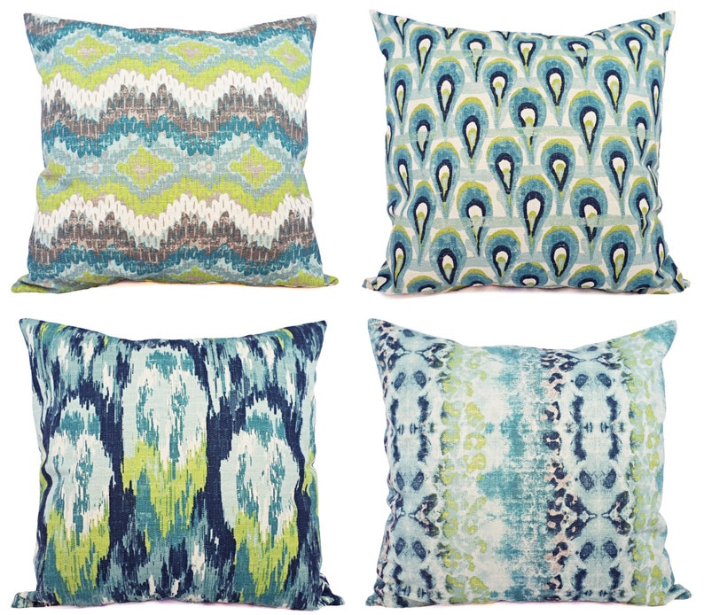 Blue Ikat Pillow Cover  Blue and Green Ikat Pillow Cover  image 0