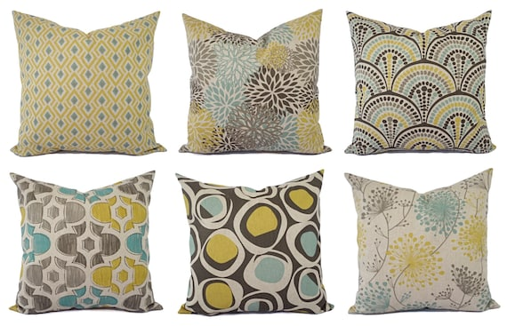 Decorative Pillow Yellow Blue And Beige Decorative Pillow Etsy Mesmerizing Yellow And Blue Decorative Pillows