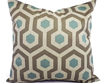 Two Blue Pillow Covers - Two Blue and Taupe Throw Pillow Covers - Couch Pillow Blue Accent Pillows Decorative Pillow
