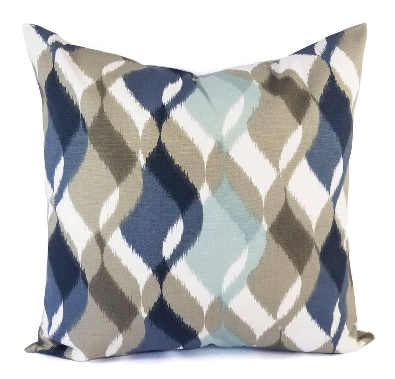 Two Decorative Pillow Covers  Blue Pillow Cover  Brown image 0