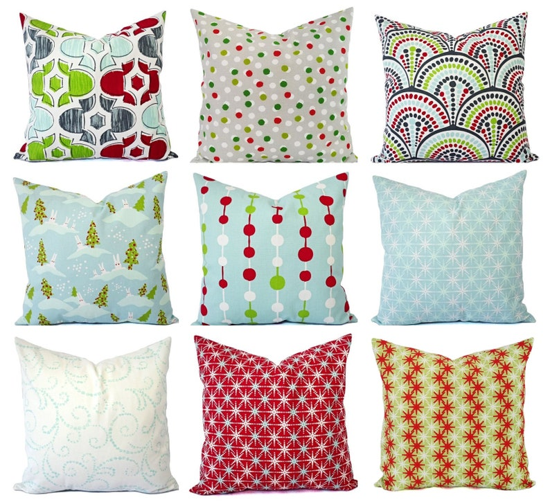 80091ca945c Holiday Pillow Covers Red Pillow Shams Blue Pillows