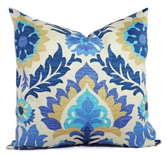 Two Outdoor Pillow Covers 20 X 20 Inch Blue Navy And Tan Etsy