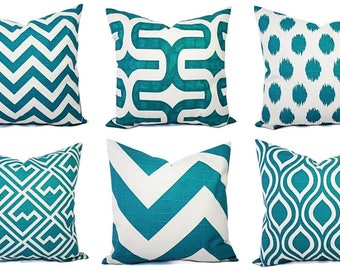 Teal Couch Pillow Covers - Turquoise Pillow Covers - Turquoise Pillow Sham - Decorative Throw Pillow - Cushion Cover - Accent Pillow