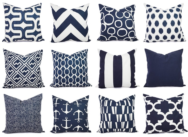 Navy and White Pillow Cover  Navy Blue Throw Pillow Cover  image 0