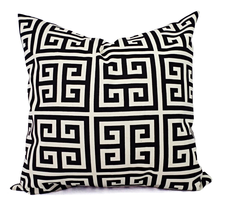 Two Black Pillow Covers Black Greek Key Decorative Pillows Decorative Pillow Cover Couch Pillow Black Grey And Cream Pillow
