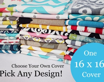 16 x 16 Pillow Cover - One Pillow Cover - Choose Your Own Design - Single Pillow Cover - Accent Pillow - Decorative Pillow - Throw Pillow