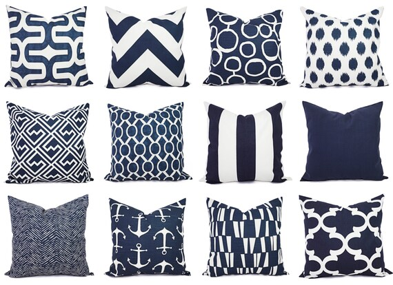 Navy Pillow Covers One Navy And White Throw Pillow Cover Etsy Classy Navy And White Decorative Pillows