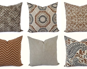 Decorative Pillow Cover - Caramel Tan Pillow - Chevron Pillow - Solid Pillow Cover - Accent Pillow Cover - Brown Pillow - Tan Grey Pillow