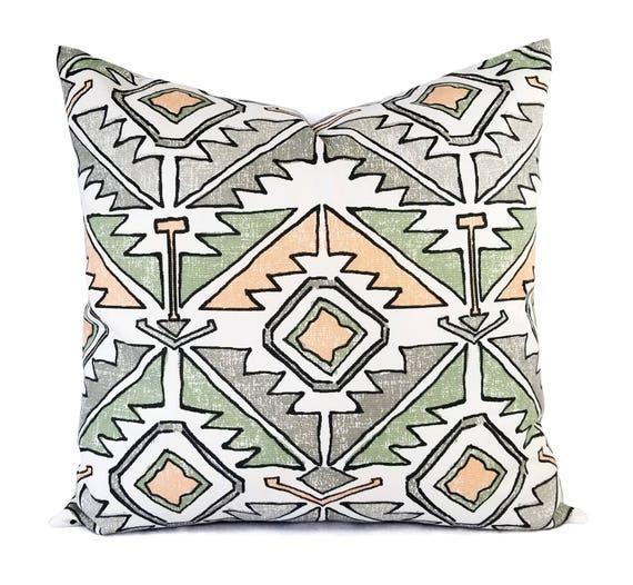 Two Peach Pillows Green Throw Pillow 16 X 16 Inch 18 X 18 Etsy