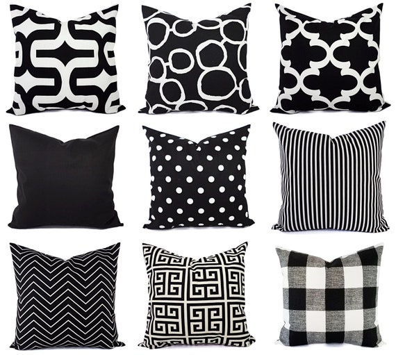 Black Couch Pillow Covers One Black And White Pillow Pillow Sham Pillow Case Pillow Cover Toss Pillow Accent Pillow Euro Sham