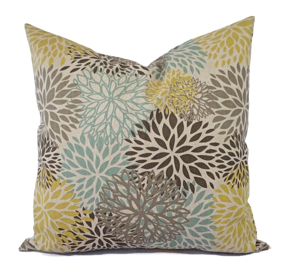 Brown Yellow And Blue Decorative Pillow Covers Two Floral Etsy Gorgeous Yellow And Blue Decorative Pillows