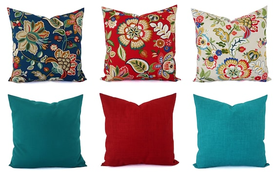 Outdoor Throw Pillow Cover Floral Pillow Sham Red Throw Etsy