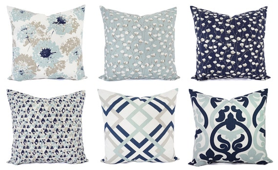 Navy Blue Pillow Cover Blue And White Throw Pillow Etsy Mesmerizing Navy And White Decorative Pillows