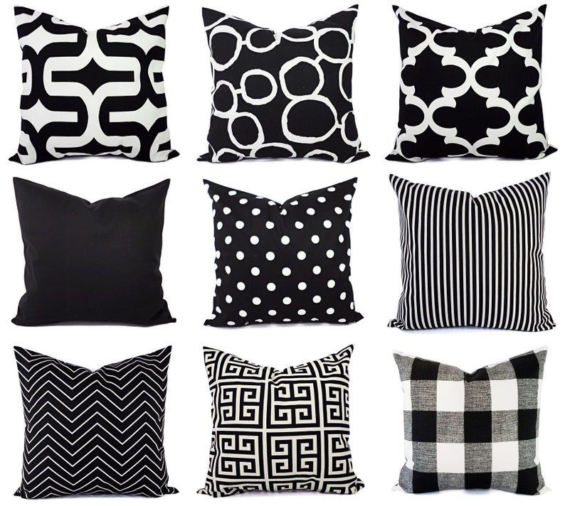39df1cb22a6 Black and White Pillow Cover Modern Black Throw Pillow Cover