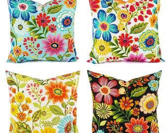 OUTDOOR Pillow Cover - Floral Pillow Cover - Bright Pillow - Toss Pillow - Accent Pillow - Custom Throw Pillow - 16 x 16 Inch 18 x 18 Inch