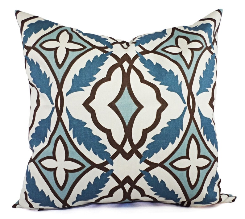 16467ee4249 CLEARANCE One Decorative Pillow Cover Blue and Beige Blue