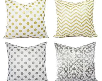 Metallic Gold Pillow Cover - Metallic Silver Pillow Cover - White Gold Pillow Cover - Decorative Pillow - Metallic Pillow - Holiday Decor