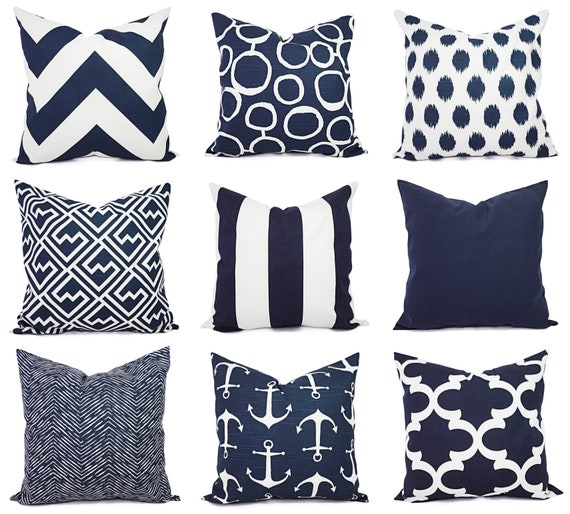 Navy Pillow Covers One Navy and White