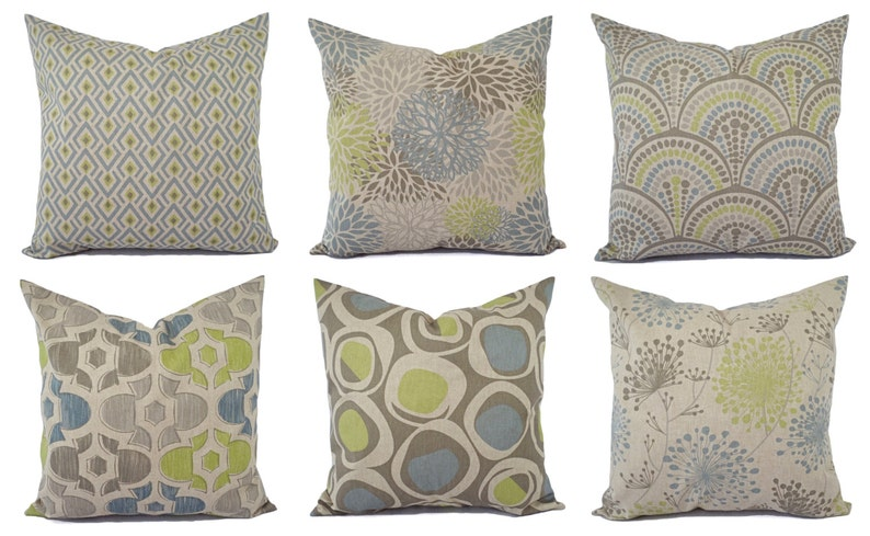 Decorative Pillow Green Blue And Beige Decorative Pillow Etsy