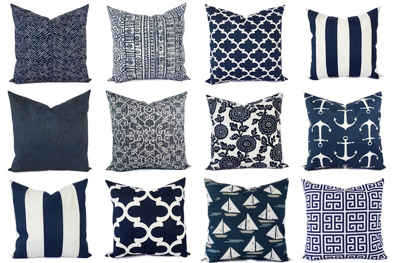 Outdoor Pillow Navy And White Pillow Cover Navy Blue Throw Etsy