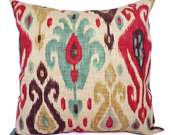 Two Ikat Couch Pillow Covers - Red and Brown Ikat Throw Pillows - Decorative Throw Pillow - Ikat Pillow Cover - Red Pillow