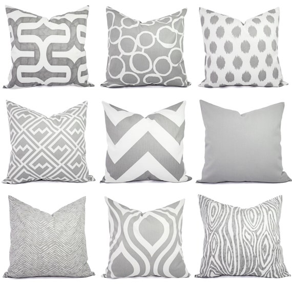 Pillow Covers Grey Pillow 20 X 20 Inch 18 X 18 Inch Etsy