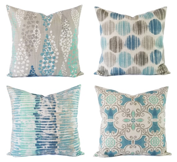 Blue And Grey Pillow Cover Blue Decorative Pillow Cover Etsy Best Blue Decorative Pillows Modern