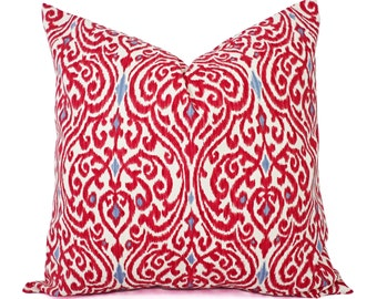 Two Decorative Pillow Covers - Red and Beige Ikat Pillows - Red Throw Pillow - Red Pillows - Red Pillow Cover - Red Pillow Sham
