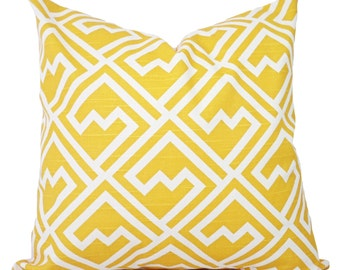 Yellow Pillow Covers - Two Decorative Pillow Covers - Yellow and White Pillow - Yellow Geometric Pillow Cover - Yellow Pillows