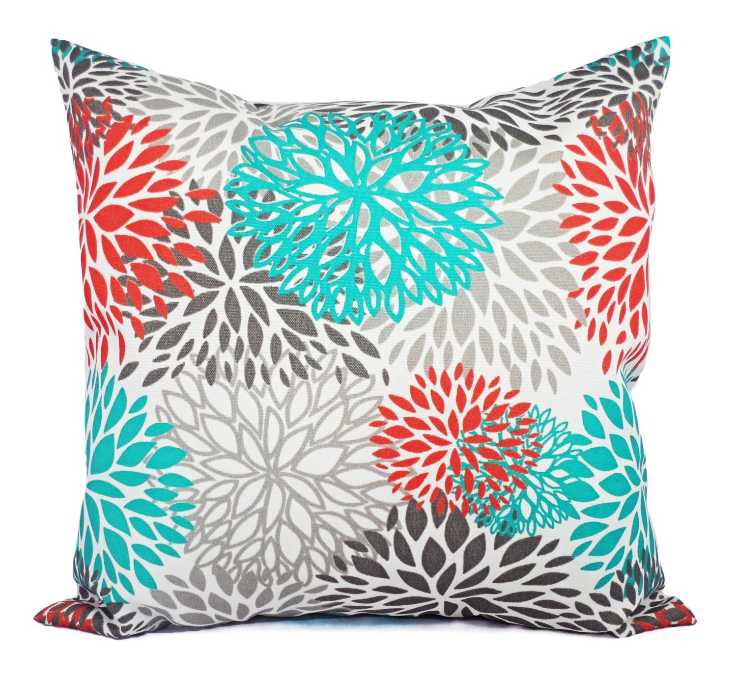 Indoor Outdoor Pillows Two Turquoise And Orange Throw Pillow Etsy