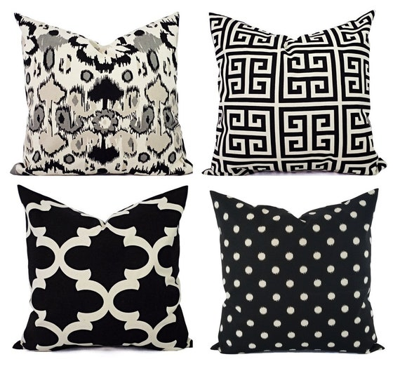 Black Throw Pillow Cover -Black and Beige Pillow - 20 x 20 Inch 18 x 18  Inch 16 x 16 Inch Black Cream Pillow Cover - Black Throw Pillows
