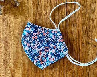 mask - navy ditsy floral / magenta blue / sustainable zero waste / organic cotton bamboo fleece cloth / washable reusable / men women child