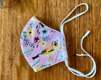 mask - pink finches & flowers / sustainable zero waste / organic cotton bamboo fleece cloth / washable reusable / men women child