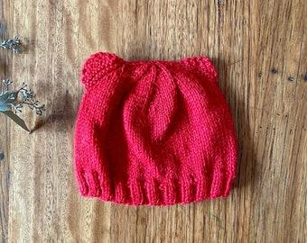blue bear ears  kookaburras cockatoos  bonnet hat  0-3 beanie 3-6 months  unisex baby shower gift  photo prop