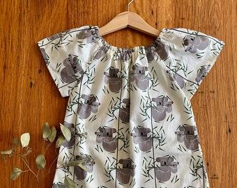 dress - koala / girl gift toddler child tween / animals eco friendly organic cotton / party dress / Australia / size 1 2-3 4 5 6 7-8 9 years