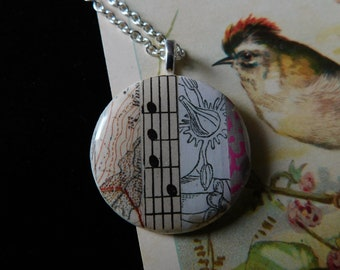 French repurposed hand made medallion collage on upcycled bone  bird locket  gift nature lover
