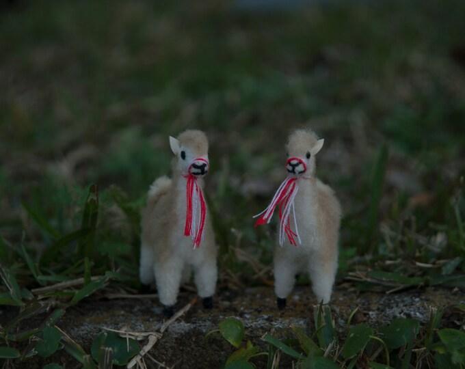 Alpaca fur mini vicuna figures- cute as can be - 4.25 inches tall