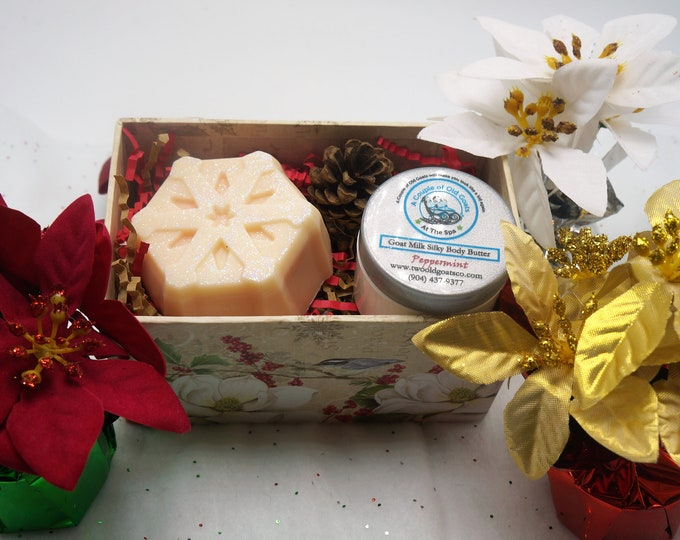 Holiday Gift Set-Goat Milk Snowflake Soap and Goat Milk Silky Body Butter - Gift under 15 - coworker, teacher, best friend, neice