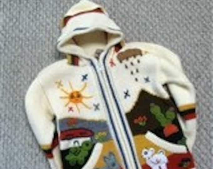 Children's barn scene sweater - Size 6 - Acrylic