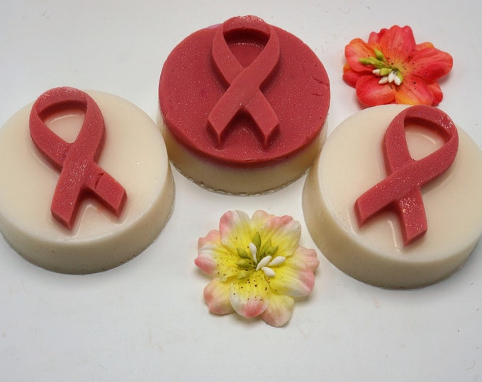 "Goat Milk Soap for Breast Cancer Awareness - show your support - custom ""Find the Cure"" label"