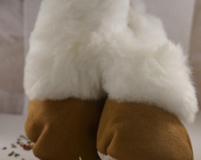 Faux seude (for durability) alpaca fur collar slipper.  Soft, comfortable and durable.   Women's size 8.5, Men's size 7
