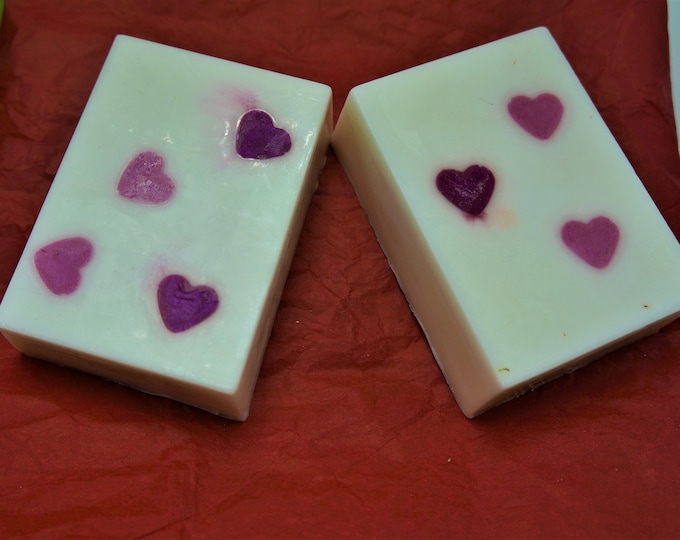 Pretty Valentine Goat Milk & Shea Butter Soap in red satin bags-moisturize dry skin